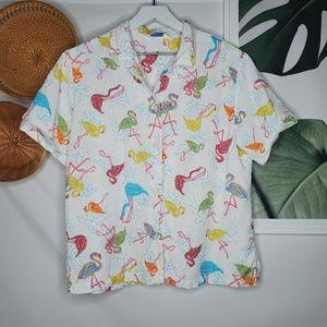 Fresh Produce Flamingo Pattern Button Up Shirt